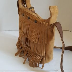 Minnetonka Tan Suede Leather Fringe Crossbody Bag